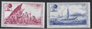 French Polynesia #603-4 MNH, set, 6th Pacific arts festival, raft / canoe