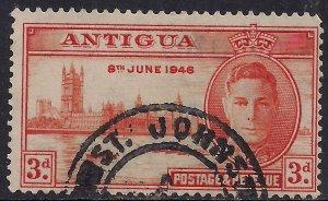 Antigua 1946 KGV1 3d Red Orange SG 111 ( T487 )