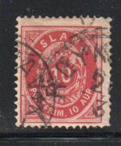 Iceland  Sc 11 1876 10 aur carmine stamp used