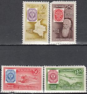 Colombia, Sc # C351-C354, MNH, 1959, Stamp on Stamp
