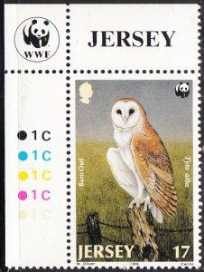 Jersey 1989 MNH Sc #510 17p Barn Owl WWF Corner margin copy