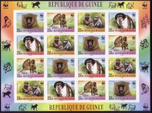 Guinea WWF Mangabey and Baboon Imperforated Sheetlet of 4 sets