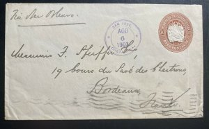 1903 San Jose Costa Rica Postal stationery Cover To Bordeaux France
