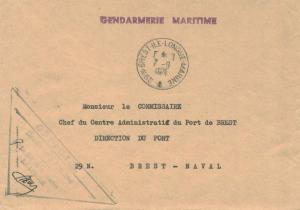 France Military Free Mail 1971 29-N-Brest-Ile-Longue-Marine to Brest-Naval wi...