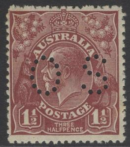 AUSTRALIA SGO102 1926 1½d RED-BROWN MTD MINT CREASED