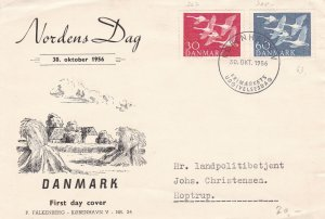 Denmark 1956 Countryside Illustrated Norths Day Bird Stamps FDC Cover Ref 45686