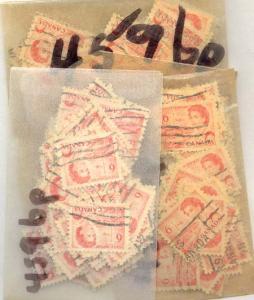 Canada - 1969 6c Orange Centennial Winnipeg 2 BarTagged X 100 #459bp Used