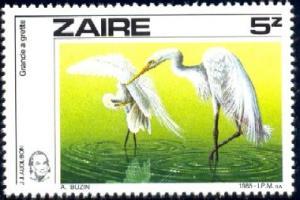 Bird, Great Egret, Zaire stamp SC#1195 Used