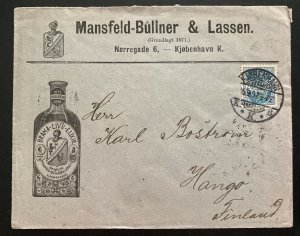 1897 Copenhagen Denmark Brama Elixir Advertising Cover To Hango Finland