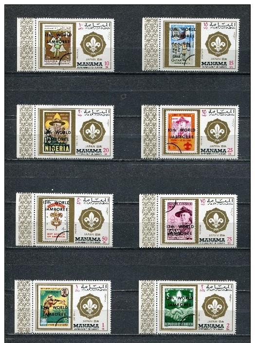 MANAMA 8 SETS SCOUTS JAMBOREE BADEN POWELL STAMPS ON STAMPS
