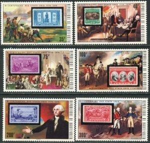 BURKINA FASO (UPPER VOLTA) Sc#352-358 1975 US Bicentennial Cpl Set & SS Mint NH