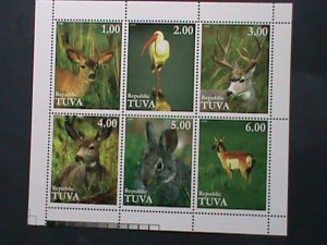 TUVA- ENDANGER  LOVELY ANIMALS MNH  SHEET RARE-VERY FINE-WE SHIP TO WORLD WIDE