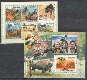 NS97 2009 S.TOME & PRINCIPE FAUNA BIRDS ANIMALS NATIVE AMERICA INDIANS BL+KB MNH