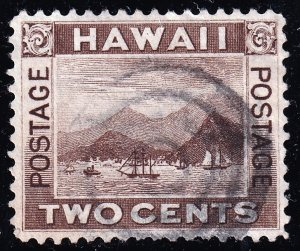US HAWAII STAMP #75 2C 1894  BROWN USED STAMP
