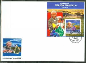 GUINEA   2014 HOMMAGE TO NELSON MANDELA  SOUVENIR SHEET  FIRST DAY COVER