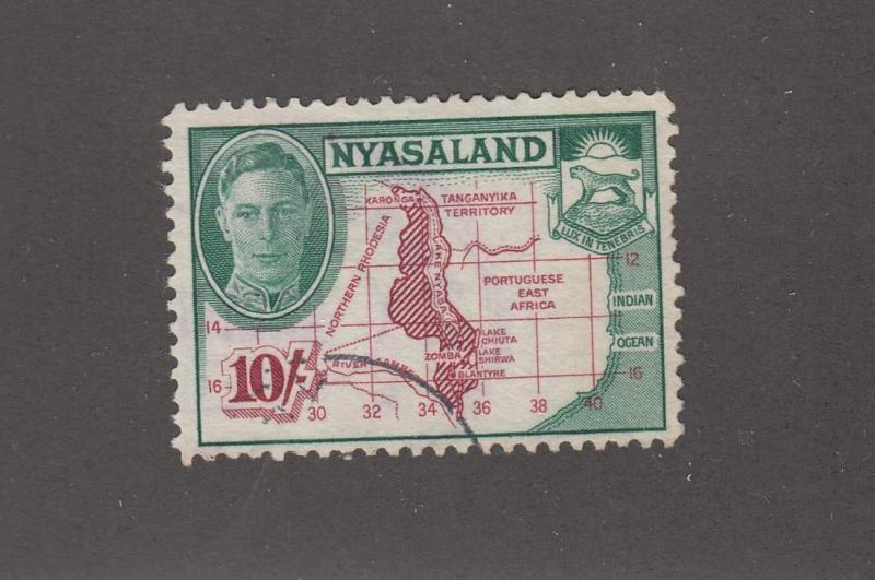 NYASALAND # 80 VF-VERY LIGHTLY CANCELLED KGV1 10sh ISSUE