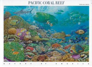 US #3831 2004 PACIFIC CORAL REEF -   PANE OF 10 37C STAMPS- MINT NH