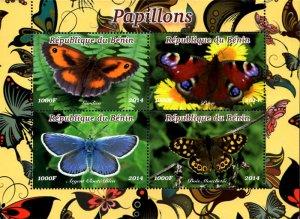 Benin 2014 Butterfly Moth 4v Mint Souvenir Sheet S/S. (#03)