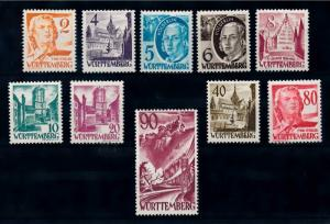 [69488] Germany French Occ. 1948 Wurttemberg Pers Landscapes New Colors Val MNH