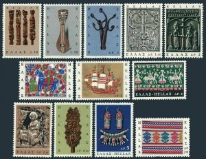 Greece 864-875,MNH.Michel 921-932. Popular Art,1966.Knitting,Horse,Lyre,Ship,