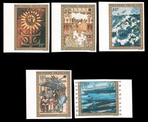 FRENCH POLYNESIA 1973 POLYNESIAN PAINTINGS IMPERF SET MNH #C100-C104 and CVMa...
