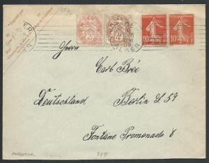 FRANCE USED IN ALGERIA 1909 uprated 10c envelope used to Berlin............61946