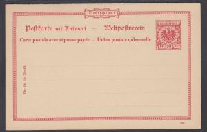 Germany Mi P39 mint 1898 10pf + 10pf  Postal Reply Double Card, VF