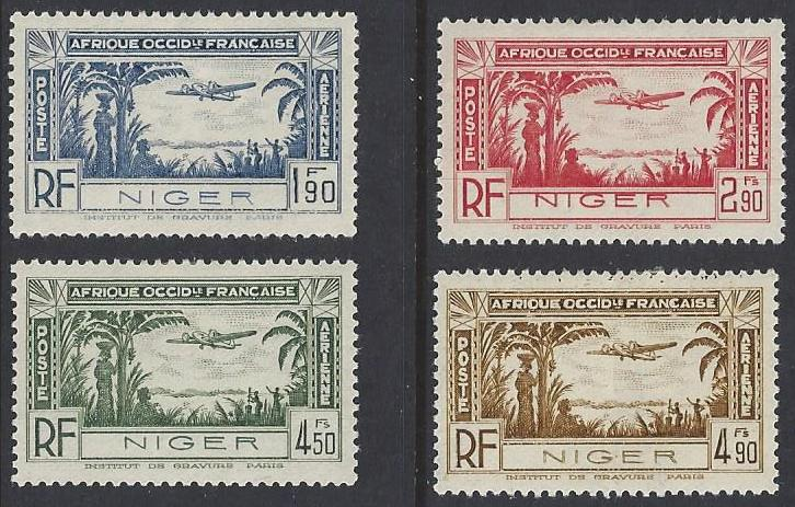 Niger #C1-4 mint set, airmail, plane over coastal area, issued 1940