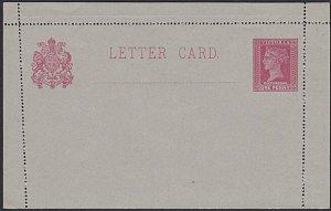VICTORIA AUSTRALIA QV 1d lettercard fine unused.............................K290