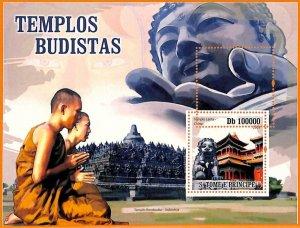 A6774 - SAO TOME & PRINCIPE, Error 2009 MISSPERF SOUVENIR S: Buddhist Temples