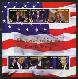 CENTRAL AFRICA  2015  AMERICAN ELECTIONS DONALD TRUMP IMPERFORATE SHEET  MINT NH