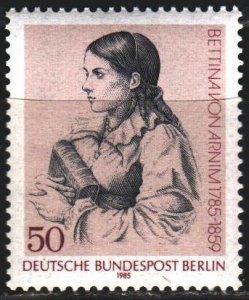 West Berlin. 1985. 730. Bettina von Arnim, writer. MNH.