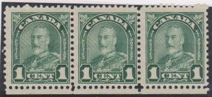 Canada - #163ii 1c Deep Green Strip of 3 with re-entry mint