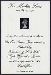 GB - 1971 - Machin Head Presentation card