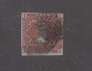 NOVA SCOTIA # 1 1d RED BROWN IMPERF CAT VALUE $750 (MNS2)