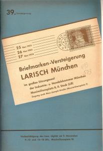 Larish: Sale # 39  -  39. Versteigerung, A. Larish-Munche...