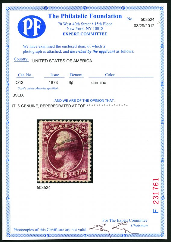 U.S. #O13 Used with PF Cert