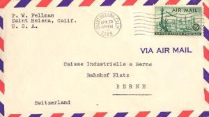 United States California Saint Helena 1949 machine  15c Plane Over Statue of ...