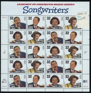 US Scott 3103a Full Sheet! Songwriters! MNH!