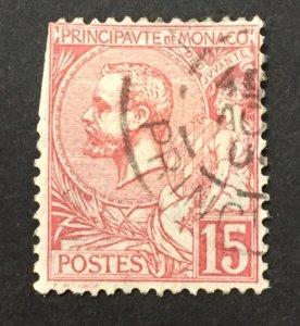 Monaco 1891  #17, Albert I, Used.