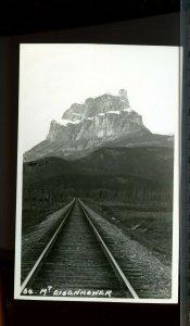 MT Eisenhower, railway tracks photo unused post card Canada