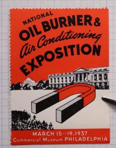 National Oil Burner Air Conditioning Expo Philadelphia Museum 1937 Magnet Poster