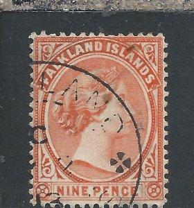 FALKLAND IS 1891-1902 9d PALE REDDISH ORANGE FU SG 35 CAT £60