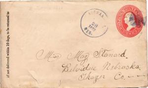 United States Nebraska Alexandria 1883  maltese cross  Postal Stationery Enve...