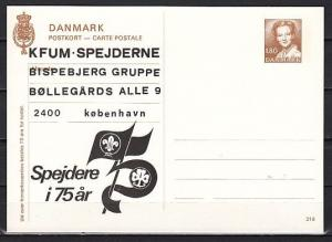 Denmark, 1982 issue of a Postal Card with 75th Anniversary Scout Cachet,