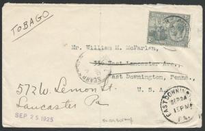 TRINIDAD & TOBAGO 1925 cover ex SCARBOROUGH to USA.........................49875