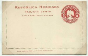 MEXICO 2c lettercard with reply lettercard inside 1899.....................58755