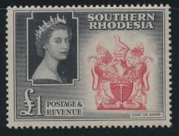 Southern Rhodesia  SG 91 SC# 94 Mlight hinge trace  Coat of Arms