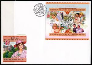 SOLOMON ISLANDS  2016 PRINCESS DIANA SHEET FIRST DAY COVER