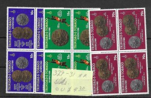 Trinidad & Tobago #329-331 MNH - Block Set - CAT VALUE $4.20